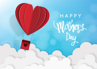Mother's day greeting card with Love balloon background. Vector Illustration