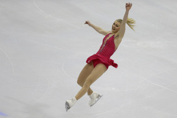 Helgesson of Sweden performs during the ladies short program at the ISU European Figure Skating Championship in Bratislava
