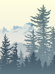 Vertical illustration of foggy forest mountains.