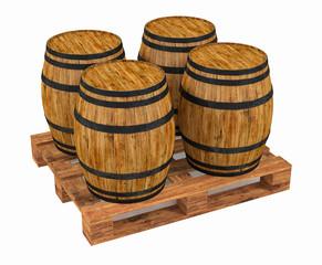 Four wine barrels on wooden pallet