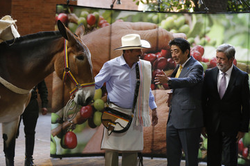 Japan's PM Abe talks with man acting as Colombia's fictional coffee icon Juan Valdez at the Colombian Coffee Growers Federation building in Bogota
