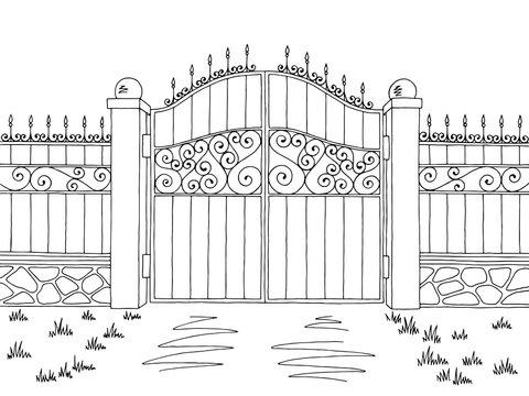 Wall fence gate graphic black white landscape sketch illustration vector