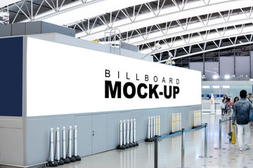 Blank billboard the advertising mock up at wall of metro or airport hall