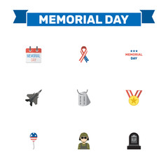 Flat Decoration, History, Military Man And Other Vector Elements. Set Of Day Flat Symbols Also Includes Grave, Memorial, Aircraft Objects.