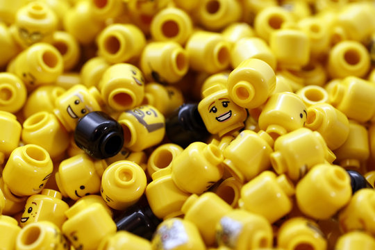 Lego pieces are seen in the world's biggest Lego store in Leicester Square in London