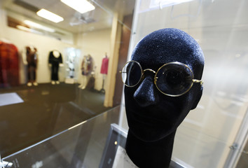 """Spectacles worn by John Lennon are pictured on display at Julien's Auctions for the upcoming """"Icons & Idols: Rock n Roll"""" auction in Beverly Hills"""