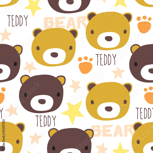 Seamless Teddy Bear Pattern Vector Illustration Stockfotos Und