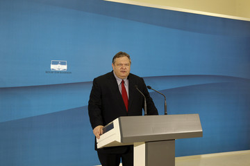 Leader of the Socialists PASOK party Venizelos addresses reporters at the parliament in Athens