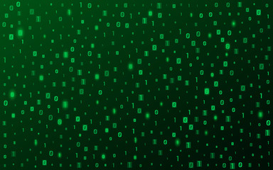 Background from binary code. Glowing green numbers. Hi-tech and programming. Vector illustration. EPS 10