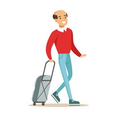 Smiling man traveling with suitcase. Colorful cartoon character vector Illustration