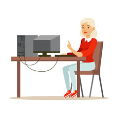 Young blond woman using laptop while sitting at her desk, colorful character vector Illustration