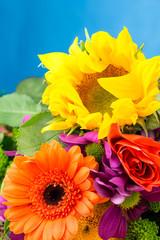 Sunflower and Gerbera florist flowers, close up detail.