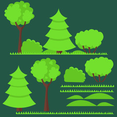 Set of flat trees and