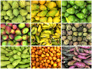 A combination photo shows local fruits in a market in Recife