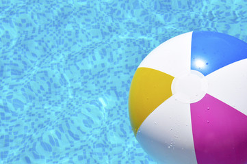 Close up Beach ball in swimming pool