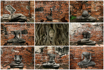 A combination picture shows a Buddha head entwined within the roots of a tree (C) and the remains of Buddha statues in the ruins of the ancient city of Ayutthaya