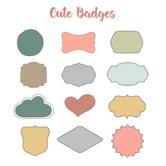 Wedding flat badges. Handdrawn banners and badges. Cartoon stickers for logotypes