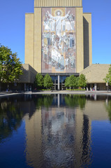 Hesburgh Library and Touchdown Jesus at University of Notre Dame