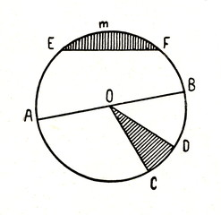Diameter, sector and segment of circle