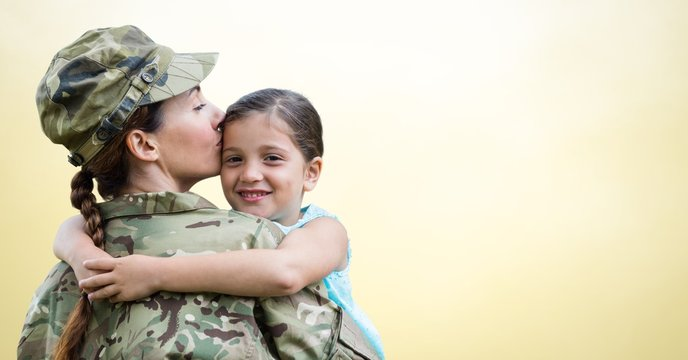 Soldier mother and daughter against