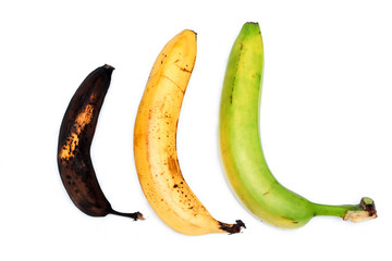 A picture of three ordinary bananas, without modifications..as you know from the shop. The picture shows the maturing of the bananas. One is green, one is yellow and one is overripened.
