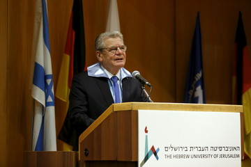 German President Gauck speaks after he received an honorary doctorate from the Hebrew University in Jerusalem