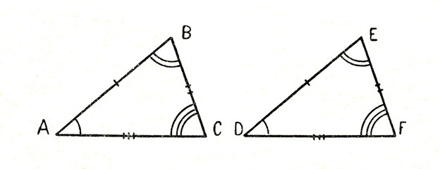Two congruent triangles - their corresponding sides are equal in length, in which case their corresponding angles are equal in measure
