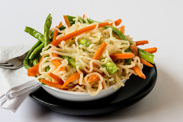 Bowl of Noodles with Fresh vegetables