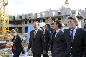 France's President Sarkozy visits a French real estate company Nexity construction site in Villeneuve-le-Roi