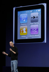 Apple CEO Steve Jobs speaks on stage as he introduces  the new iPod Nano at Apple's music-themed September media event in San Francisco