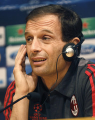 AC Milan coach Massimiliano Allegri attends a news conference at Nou Camp stadium in Barcelona
