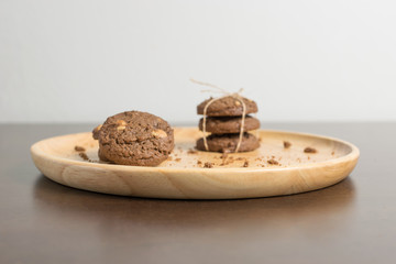 chocolate chip cookies on wood background