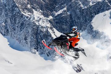 Foto op Canvas Motorsport salto con motoslitta