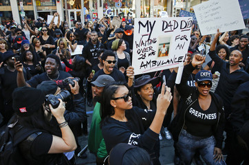 Demonstrators protest against police violence in Hollywood, California