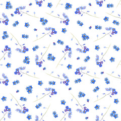 Blue forget me not and bindweed spring flowers in bouquet for wedding. Decorative element for greeting card, textile, paper, wallpaper, craft, package, label, logo