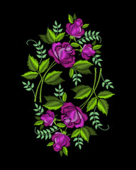 Bouquets of roses. Stylish, fashionable, bright floral arrangements for embroidery textile products