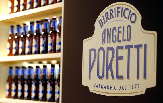 The logo of Angelo Poretti italian beer is seen at the 50th Vinitaly international wine and spirits exhibition in Verona