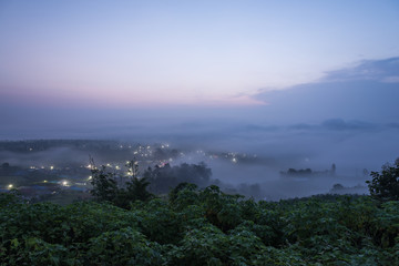 Landscape of Pai town with fog in the morning