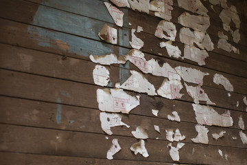 Shreds of wallpaper cling to the wall in an abandoned and decaying tenant farmer's, or sharecropper's, house in Moundville