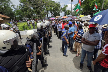 Demonstrators protest against the government of President Desi Bouterse in Paramaribo