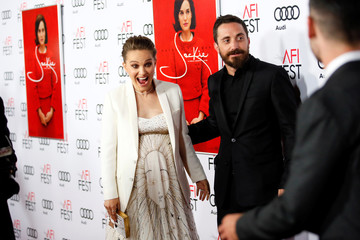 "Actor Natalie Portman reacts next to director Pablo Larrain as she sees other co-stars at a screening of ""JACKIE"" as a part of AFI Fest in Los Angeles"