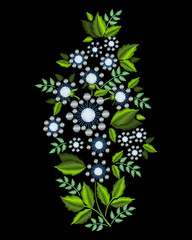 A bouquet of white flowers. Stylish, fashionable, bright floral arrangements for embroidery textile products