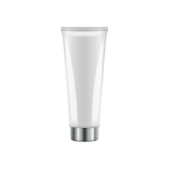 Vector plastic tube with round silver cap. Realistic white packaging mockup template