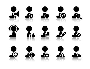 Vector icons of worker, office worker situation pictograms, supplies set