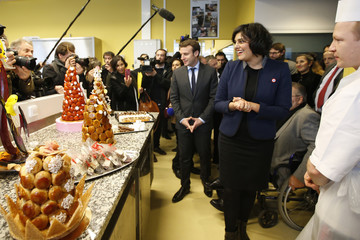 French Labour Minister Myriam el Khomry and Economy Minister Emmanuel Macron visit a pastry school at the Campus des Metiers et de l'Entreprise in Bobigny