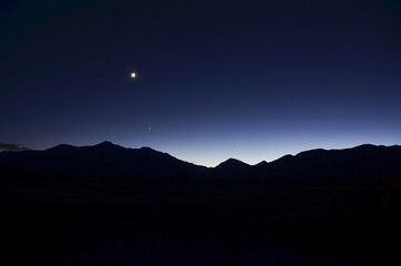 Moon and Stars Over Mount Princeton at Dusk