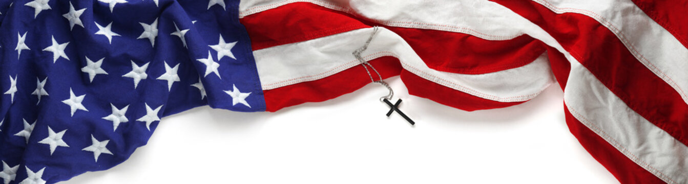 Red, white, and blue American flag with christian cross for Memorial day or Veteran's day background