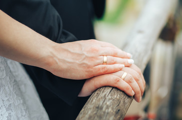 Closeup of hands of the newlyweds. Hands of Bridal couple with wedding rings on the bridge
