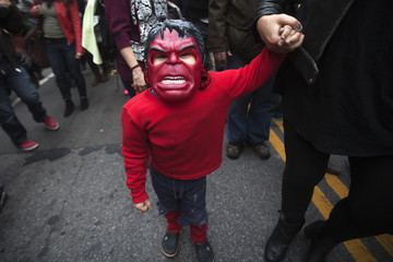 A child in costume takes part in 24th Annual Greenwich Village Children's Halloween Parade in the Manhattan borough of New York