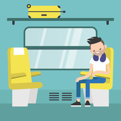 Young passenger sitting in the train compartment / editable flat vector illustration